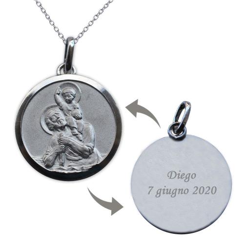 Ciondolo san Cristoforo argento massiccio personalizzato