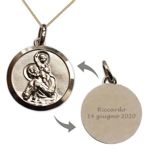 Ciondolo san Cristoforo placcato oro personalizzato