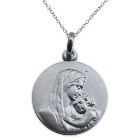 Ciondolo in argento massiccio Vergine con bambino personalizzato