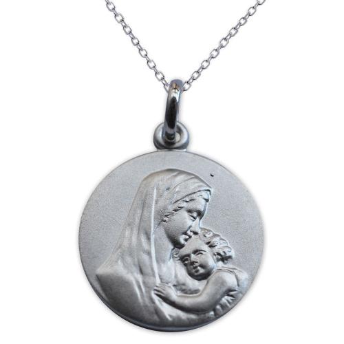 Ciondolo argento massiccio Vergine con Bambino