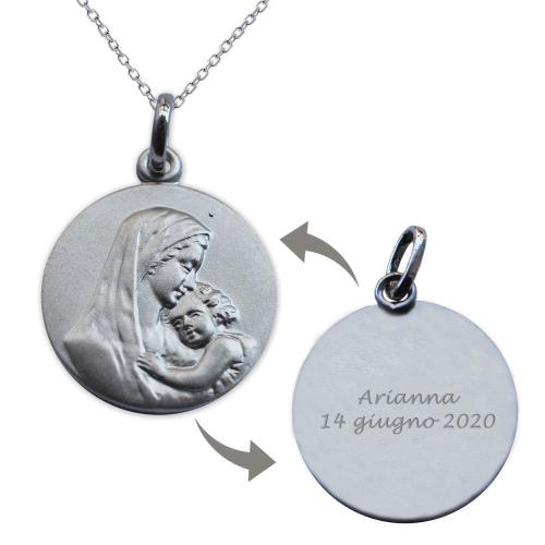 Ciondolo argento massiccio Vergine con Bambino personalizzabile
