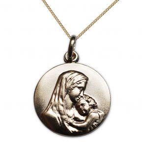 Ciondolo placcato oro Vergine con bambino personalizzato