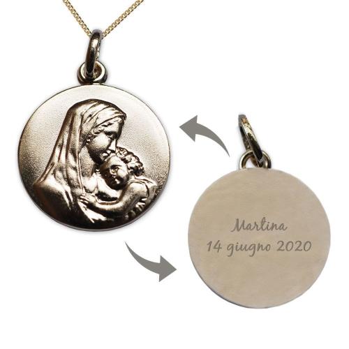 Ciondolo placcato oro Vergine con Bambino - personalizzazione