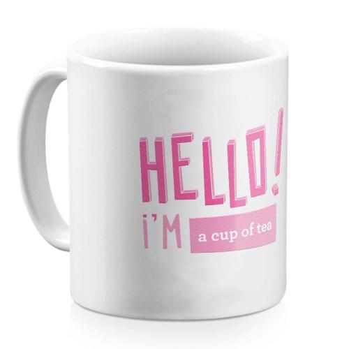 Tazza Hello rosa confetto personalizzata