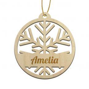 Palla di Natale con Fiocco di neve e nome inciso