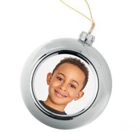 Palla di Natale argentata personalizzata con foto