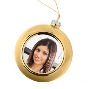 Palla di Natale dorata personalizzata con foto