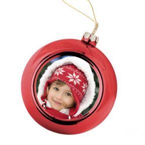 Palla di Natale rossa personalizzata con foto