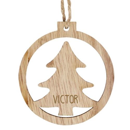 Palla di Natale personalizzata in legno albero di Natale