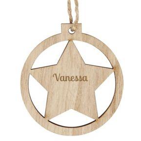 Palla di Natale personalizzata in legno Stella
