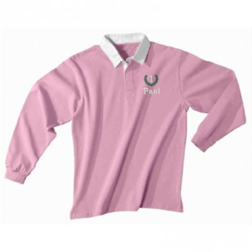 Polo rugby ricamata rosa