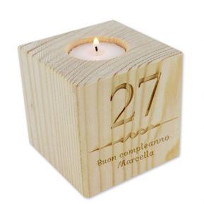Portacandela cubo in legno personalizzato