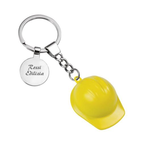 Portachiavi casco cantiere inciso giallo