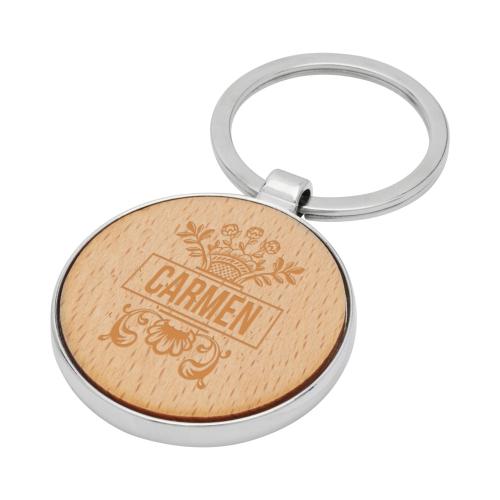 Portachiavi in legno personalizzato con nome al laser