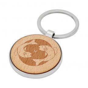 Portachiavi tondo in legno personalizzato Segno Zodiacale