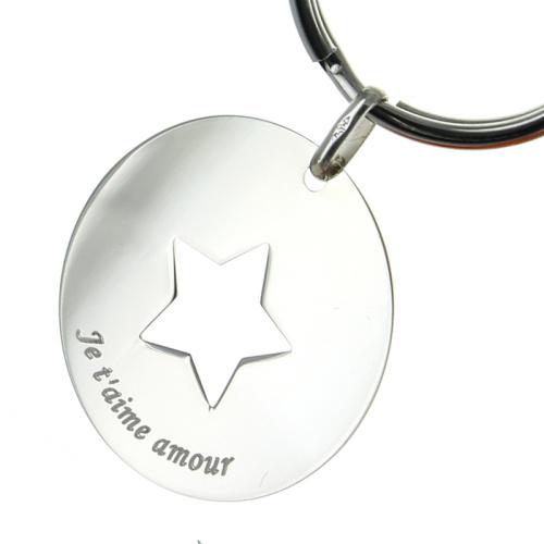Portachiavi stella incisa