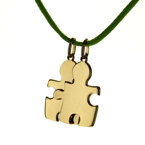 Ciondolo puzzle duo inciso placcato oro