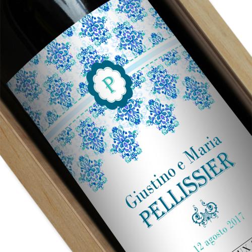 Bottiglia di vino personalizzata Rococò compleanno