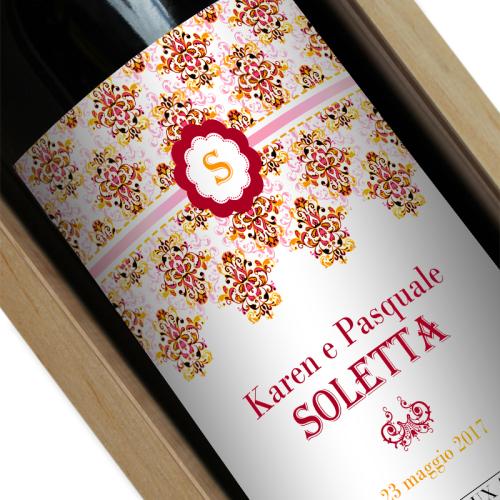Bottiglia di vino personalizzata Rococò rossa