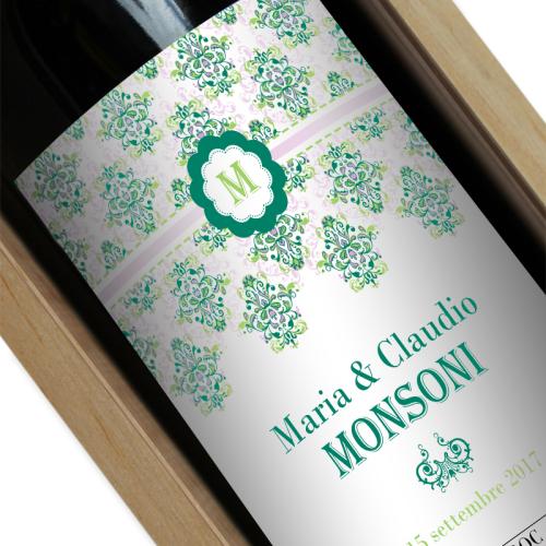 Bottiglia di vino personalizzata Rococò verde