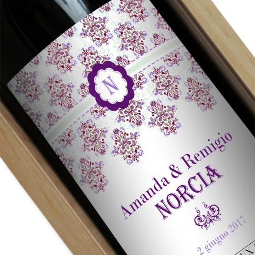 Bottiglia di vino personalizzata Rococò