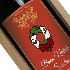 Bottiglia di vino personalizzata Rosso Natale