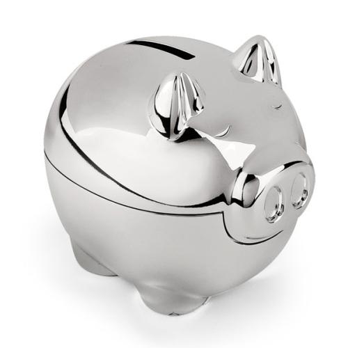 Salvadanaio maialino placcato argento