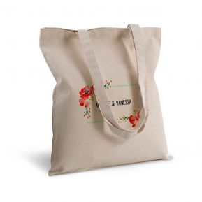 Borsa di tela shopper fiori acquerello