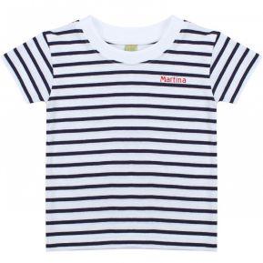 T-shirt marinière bambino con nome ricamato