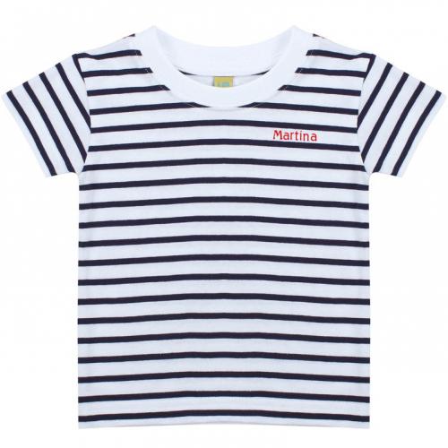 T-shirt marinière nome ricamato bambino