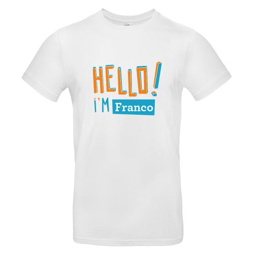 T-shirt uomo personalizzata Hello bianca
