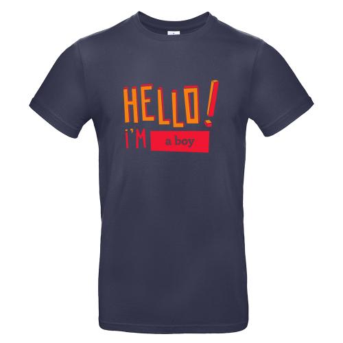 T-shirt uomo personalizzata Hello blu