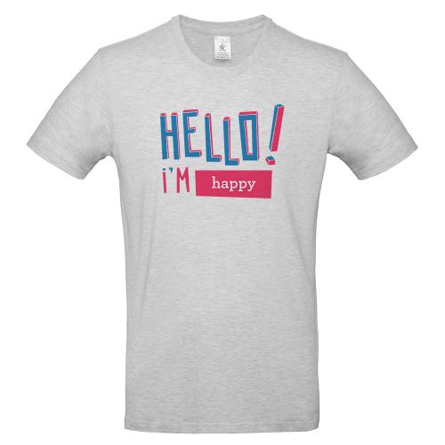 T-shirt uomo personalizzata Hello grigia