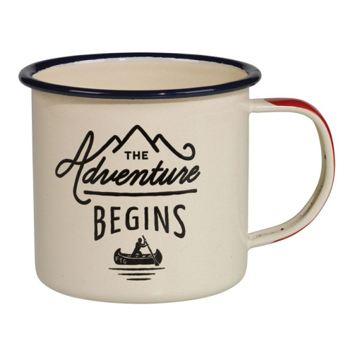 Tazza smaltata The Adventure Begins crema