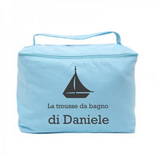 Trousse da bagno vanity case personalizzata azzurra