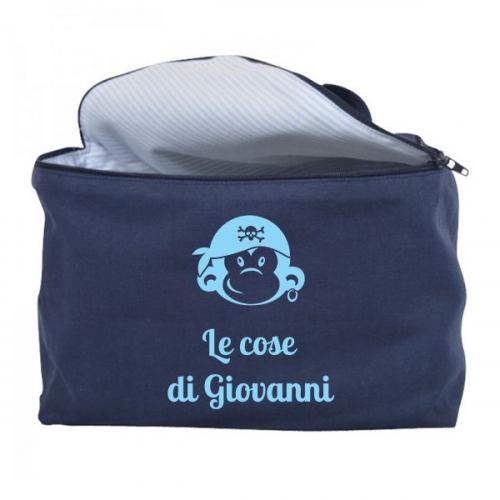 Trousse da bagno vanity case personalizzata blu