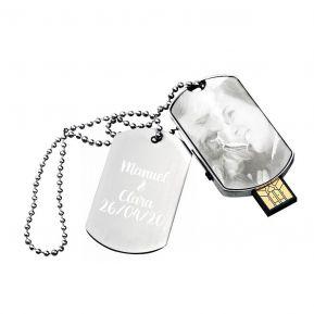 Chiavetta USB 16GB piastrina militare personalizzata con foto incisa