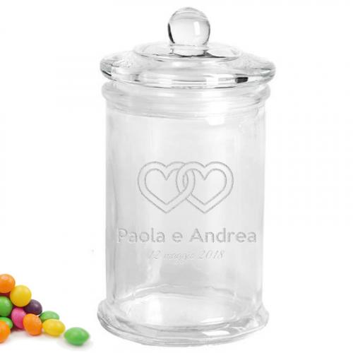 Barattolo di vetro per confetti matrimonio