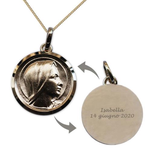 Ciondolo Vergine Maria placcato oro personalizzabile