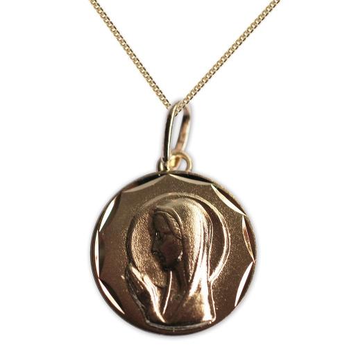 Ciondolo Vergine Maria prega per noi oro placcato