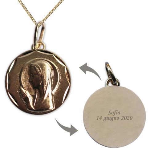 Ciondolo Vergine Maria prega per noi placcato oro