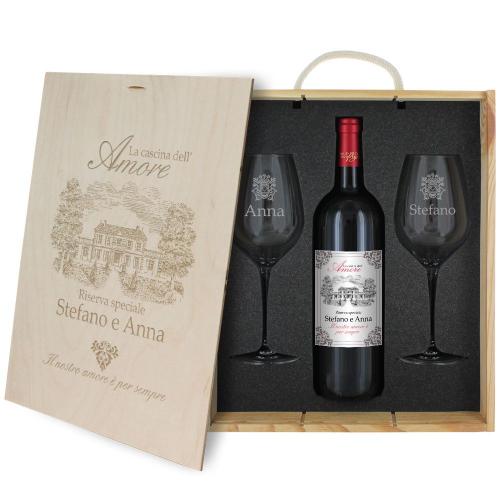 Cassetta vino e bicchieri cascina dell'amore