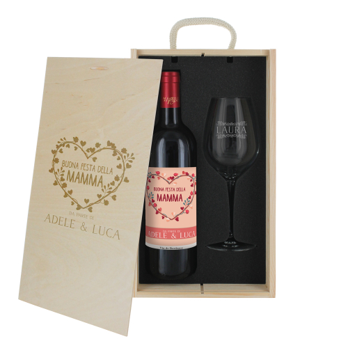 Cofanetto vino e bicchiere mamma personalizzato