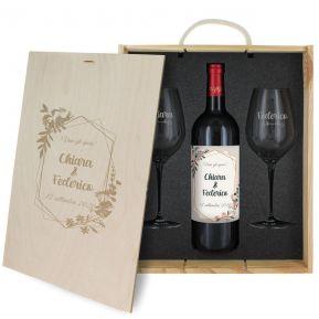 Cofanetto vino e bicchieri matrimonio