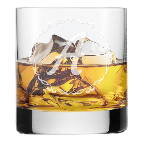 Bicchiere con iniziale personalizzata alloro
