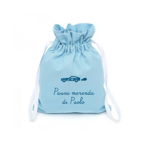 Zainetto pupazzi personalizzato azzurro