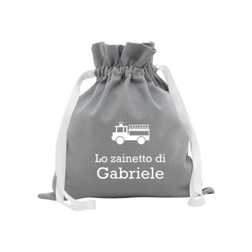 Zainetto pupazzi personalizzato grigio