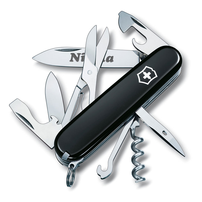 Coltellino svizzero nero personalizzato