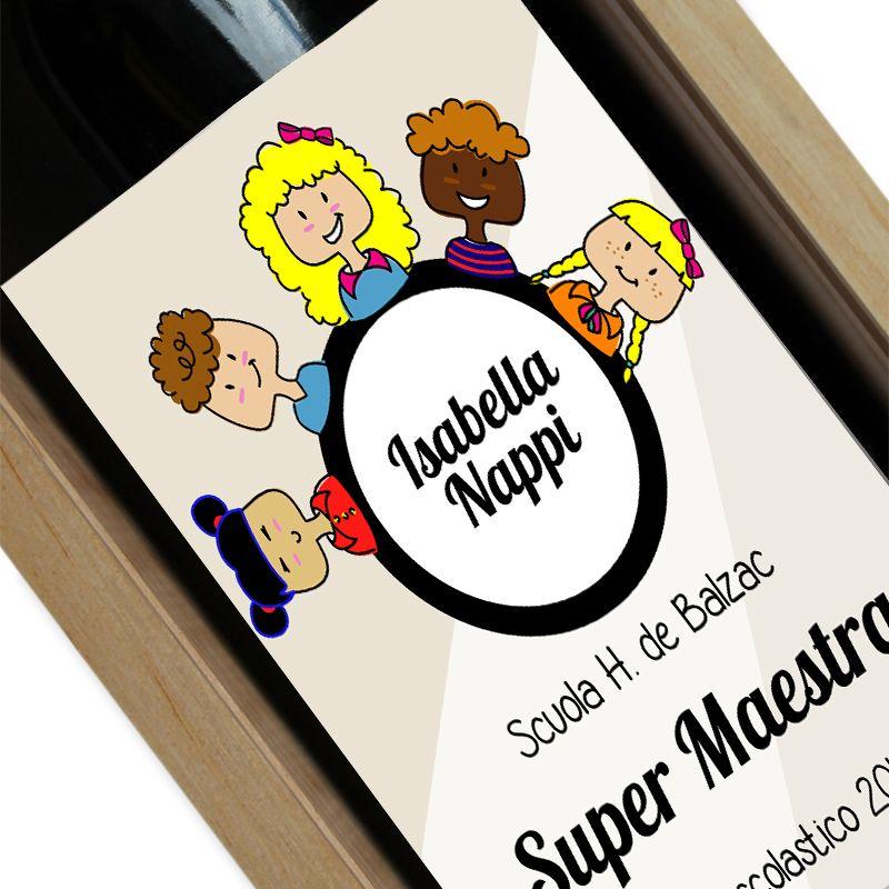Bottiglia di vino personalizzata Grazie Maestra