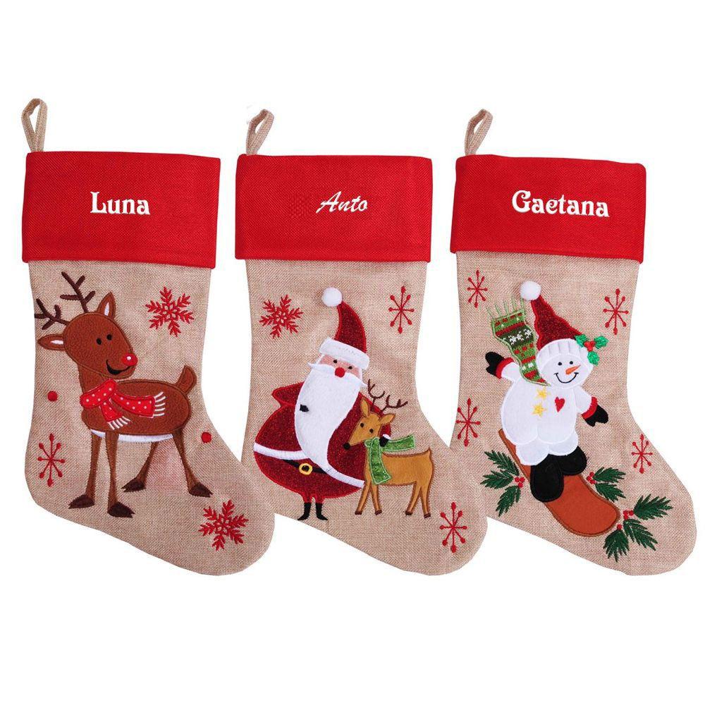 Calza natalizia effetto lino ricamata